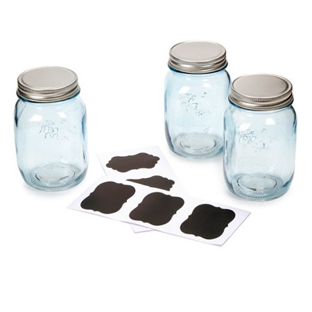 Blue Mason Jars with Chalkboard Lables: 16 oz, 3 - Mason Jar Table Centerpieces