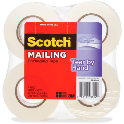 Scotch Tear-By-Hand Packaging Tape MMM38424