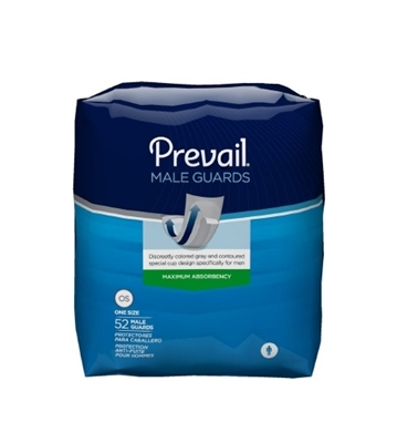 Prevail Male Guard, Bladder Control Pad, 13 Inch Length, Disposable, PV-812/1 - Case of 208