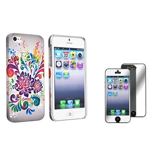 INSTEN Grey Purple Flower Swirl Snap-on Rubber Coated Case with FREE Mirror Screen Protector For Apple iPhone 5
