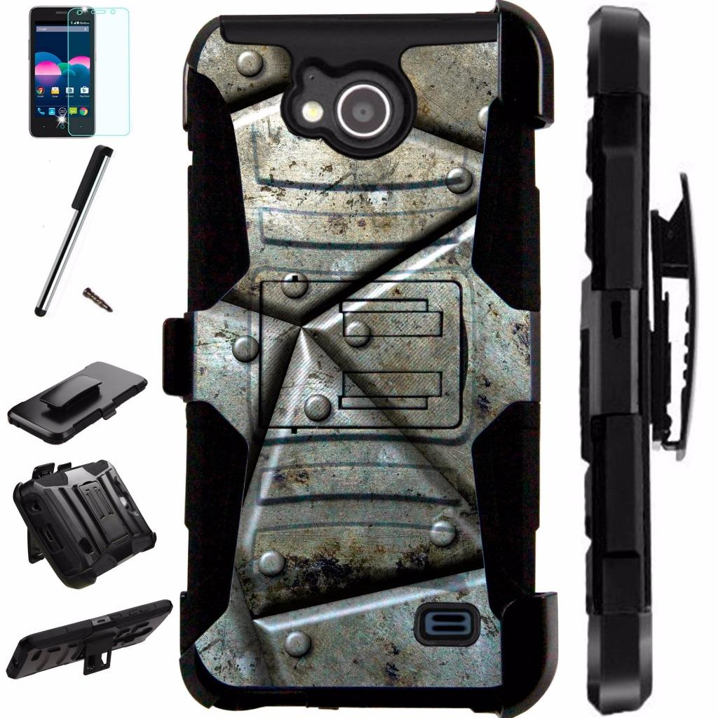 For ZTE Majesty Pro Plus LTE / ZTE Majesty Pro LTE / ZTE Tempo N9131 Case Armor Hybrid Silicone Cover Stand LuxGuard Holster Combo Pack (Metal Shell)
