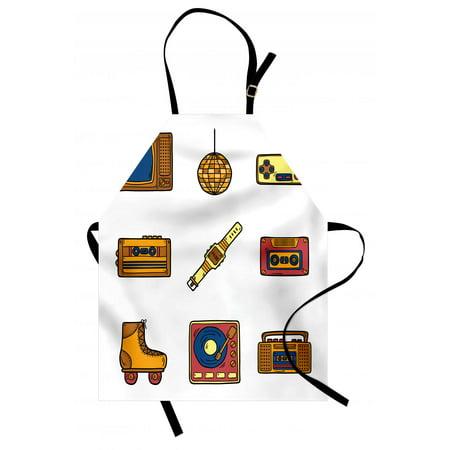 90s Apron Cartoon Illustration with Old Fashioned Technology Lifestyle Theme Nostalgic Artwork, Unisex Kitchen Bib Apron with Adjustable Neck for Cooking Baking Gardening, Mustard Navy, by