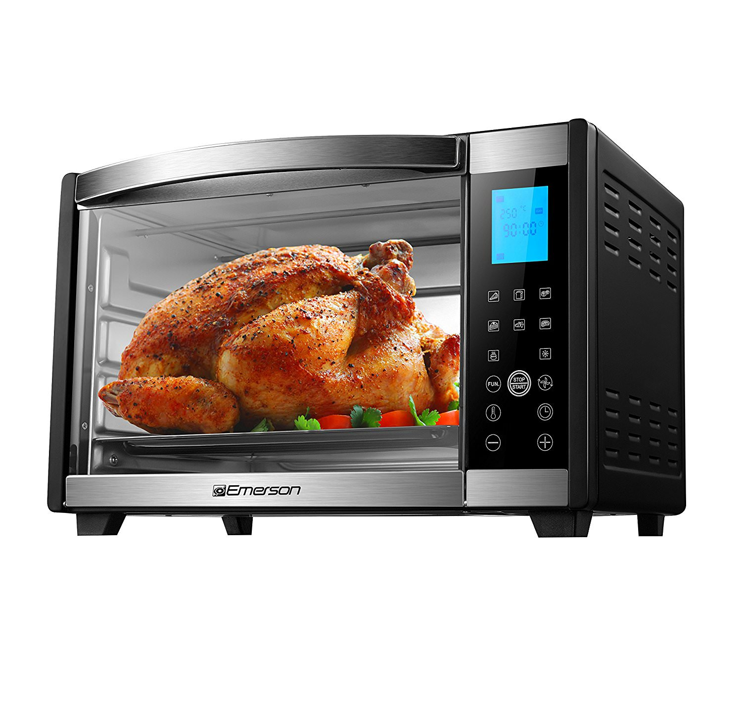 Emerson 6-Slice Convection & Rotisserie Countertop Toaster Oven with Digital Touch Control in Stainless Steel, ER101004
