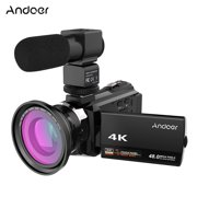 Andoer 4K 1080P 48MP WiFi Digital Video Camera Camcorder Recorder with 0.39X Wide Angle Macro Lens External Microphone Novatek 96660 Chip 3inch Capacitive Touchscreen