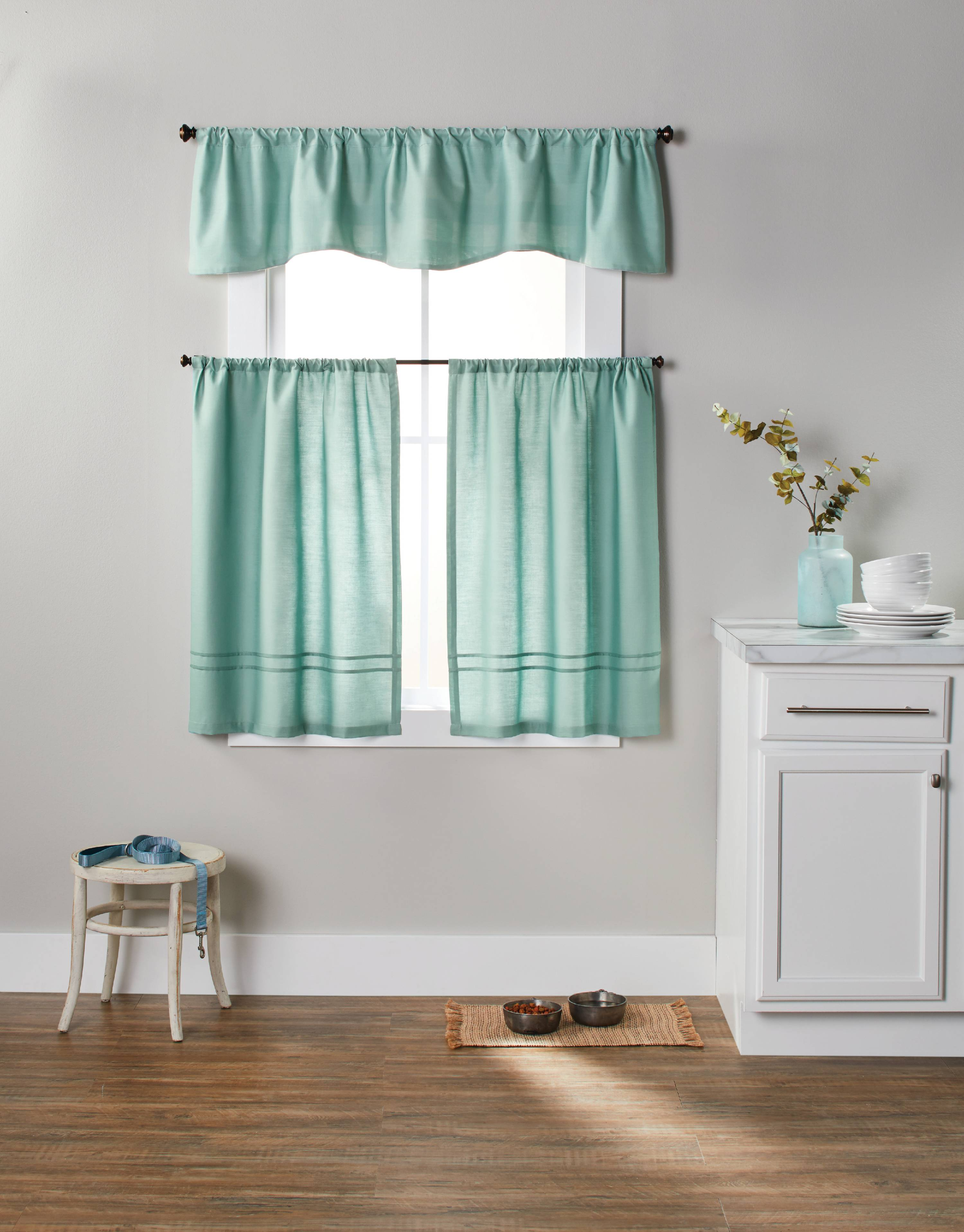 Better Homes & Gardens Checks N Solids 3 Piece Kitchen Curtain Set ...