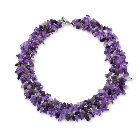 Purple Amethyst Gemstone Chunky Chips Cluster Bib Multi Strand Statement Necklace For Women Silver Plated