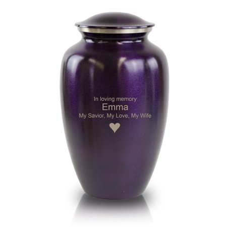 Bronze Cremation Urn - Large 195 Pounds -  Purple  - Custom Engraving Included