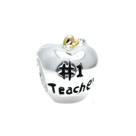 Queenberry Sterling Silver # 1 Teacher Apple Gold-Tone European Style Bead Charm Fits (Sterling Silver Apple Charm)