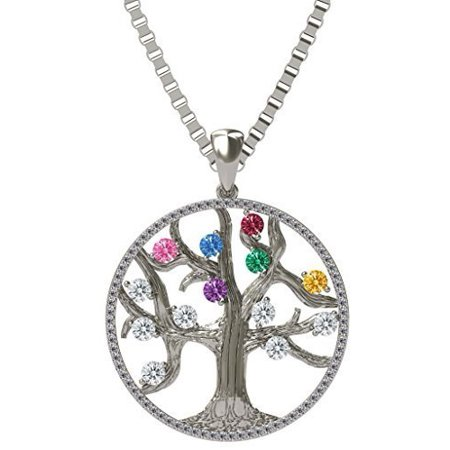 Silver Tree of Life Mothers Pendant CZ Bezel - 1 Stone - 925 Sterling Silver