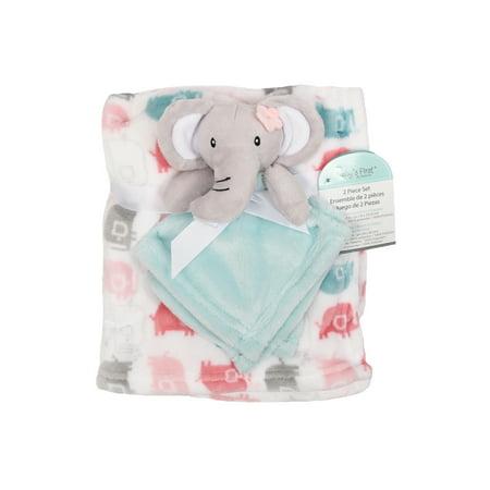 Baby Blanket Buddy (Baby's First by Nemcor 2-Piece Blanket and Buddy Gift Set - Girl Elephant )