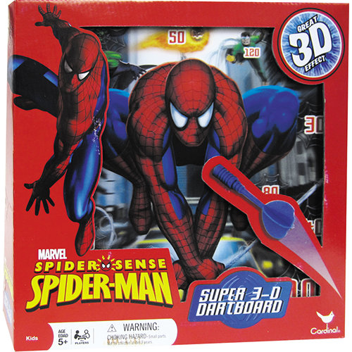 Spider-Sense Spiderman Super 3D Dartboard Game, Kids Comics by Cardinal by