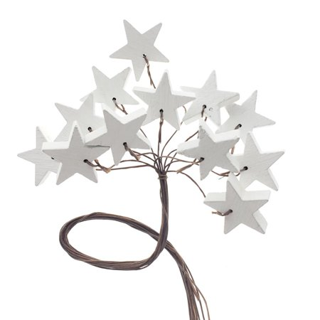 Craft Wooden Stars Wired Picks Bundle, White, 1-1/4-Inch, 12-Count