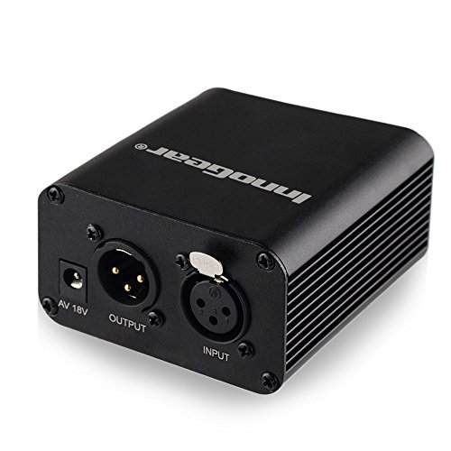 InnoGear 1- Channel 48V Phantom Power Supply with Adapter for Any Condenser Microphone Music Recording Equipment