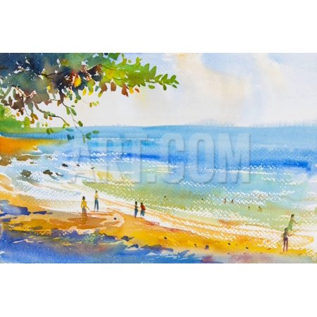 Watercolor Original Seascape Painting Colorful of Beach and Sand in Emotion Clound Background Print Wall Art By Tanom - Seascape Watercolor