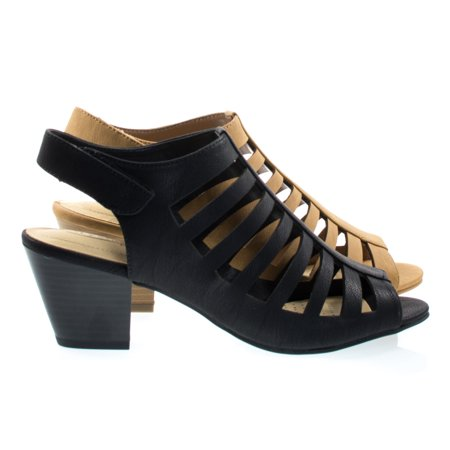 Comfort Dress Sandals - Anakin by City Classified, Comfort Foam Pad T-Strap Cage Dress Sandal, Gladiator Chunky Block Heel