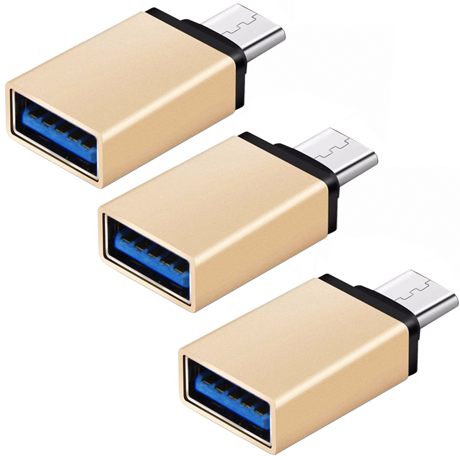 FREEDOMTECH USB C to USB 3.0 OTG Adapter (3 Pack), Thunderbolt 3 Adapter For MacBook Pro, Chromebook, Pixelbook, Microsoft Surface Go, Galaxy S8 S9 Plus Note 8 9, LG V40 G7 G6 Thinq,Google Pixel Slate