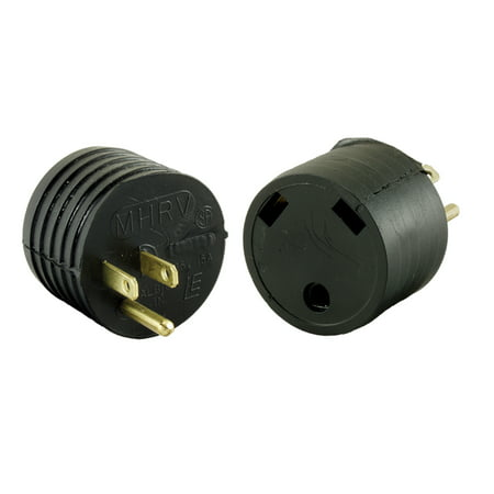 JR Products M-3024-A 15M Offset Electrical Adapter - 15 Amp Male to 30 Amp Female