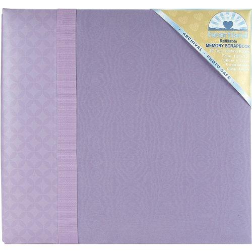 Heartland 12 Inch by 12 Inch Moire with Grosgrain Ribbon Postbound Album, Lavender Multi-Colored