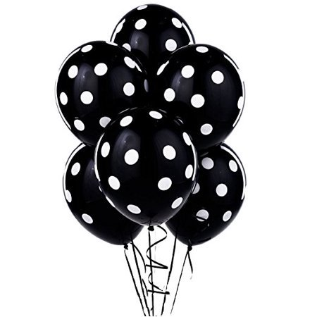 Polka Dot Balloons 11in Premium Black with All-Over print White Dots Pkg/100