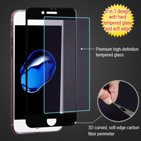 Tempered Carbon (For iPhone 7 / 8 3D Curved Edge Carbon Fiber Tempered Glass Screen)