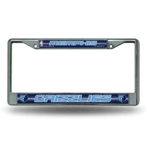 Memphis Grizzlies Laser Etched Chrome License Plate Frame (Glitter)