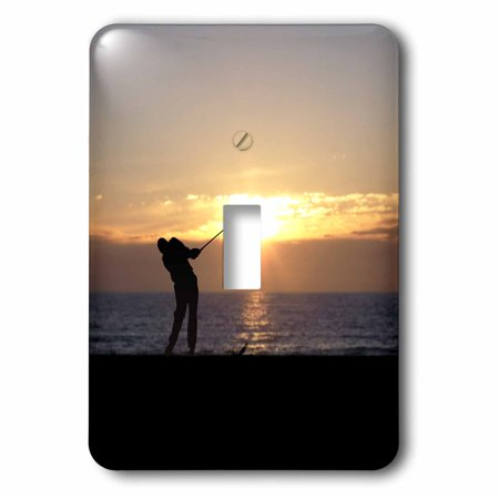 3dRose Playing Golf At Sunset - silhouette of golfer driving on 18th hole, Double Toggle - Golfer Silhouette