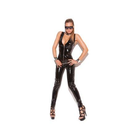 Elegant Moments EM-V9216 Womens Deep V vinyl cat suit with zipper front S / Black (Cat Women Suit)