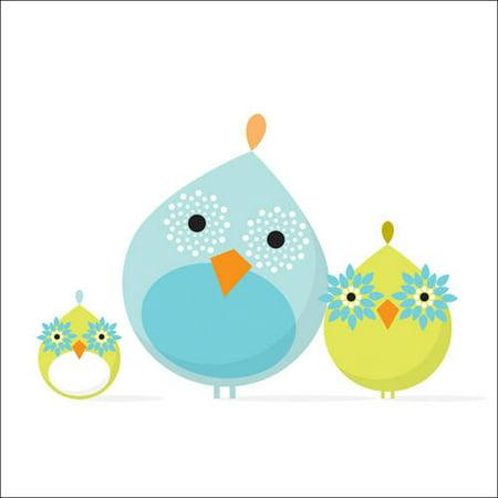 Oopsy Daisy - Mod Bird Family Canvas Wall Art 14x14, Robin Rosenthal