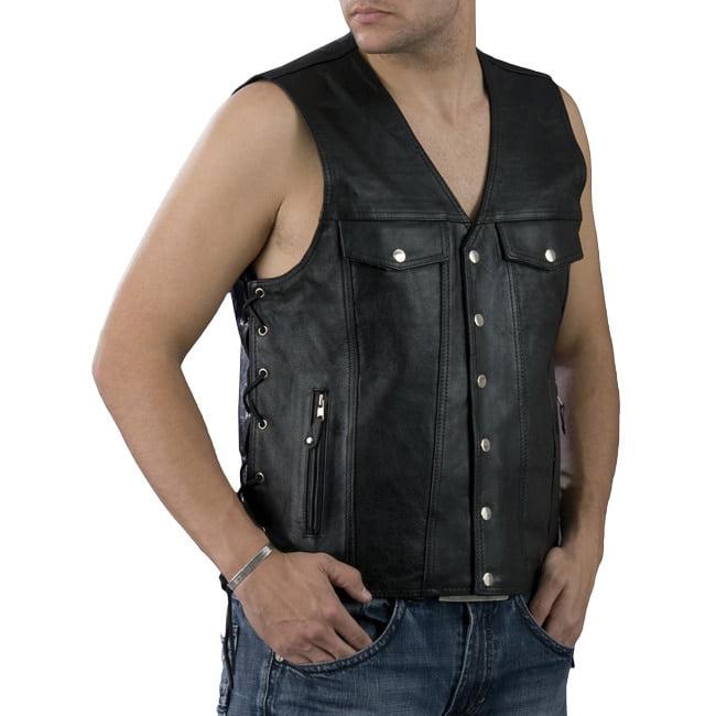MILWAUKEE LEATHER Men's Black Leather Vest With Denim-Sty...