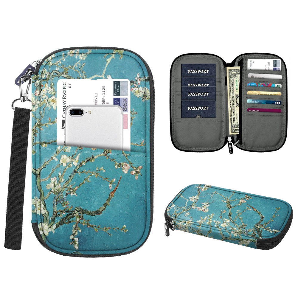 Family Travel Wallet Passport Holder, Fintie RFID Blocking Document Organizer Bag Case w/ Hand Strap, Blossom