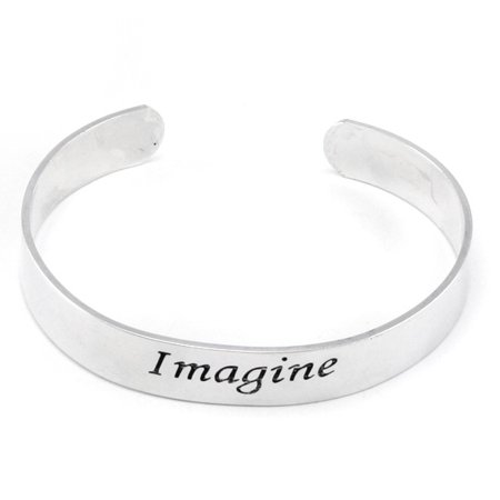 Imagine Inspirational Message Silver Tone Metal Adjustable Cuff (Silver Tone Metal Cuff)