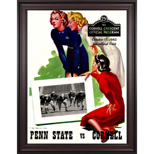 NCAA - 1942 Cornell Big Red Vs. Penn State Nittany Lions 36 x 48 Framed Canvas Historic Football Poster