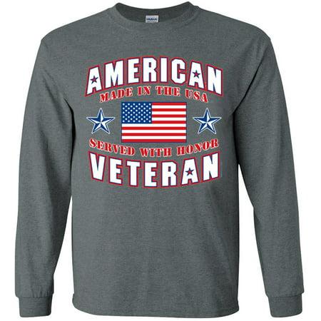 f86a422d380 Decked-Out-Duds - American Veteran T-shirt Men s Long Sleeve Tee Gray -  Walmart.com