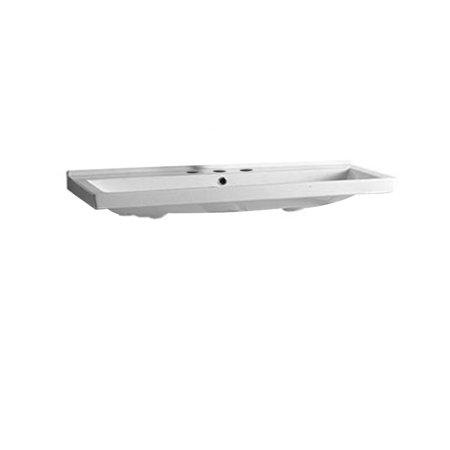 Whitehaus LU030-3H Large Rectangular Basin China Console w/ Overflow Chrome