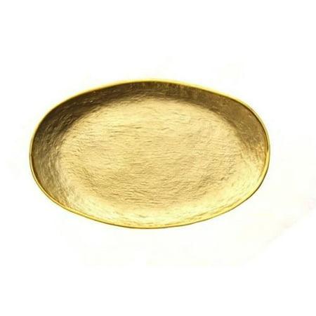 - Badash Crystal Glamour Gold Glass Oval Tray