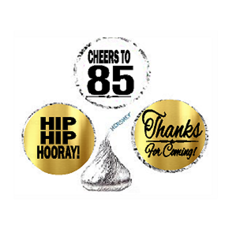 85th Birthday / Anniversary Cheers Hooray Thanks For Coming 324pk Stickers / Labels for Chocolate Drop Hersheys Kisses, Party Favors (Thanks Message For Coming To Birthday Party)