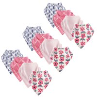 Touched by Nature Baby Girl Organic Bandana Bibs, 12 Pack, Flower