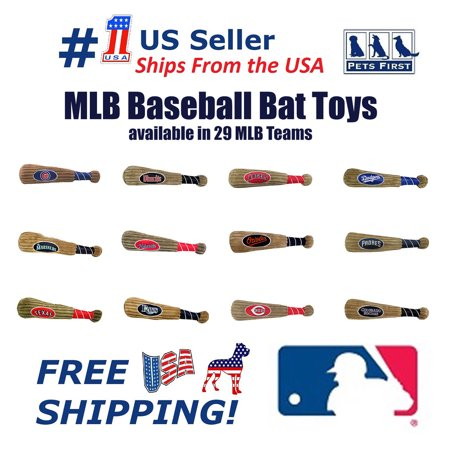 Pets First MLB Seattle Mariners BAT TOY for DOGS & CATS. 29 MLB Teams available. - Plush PET TOY with inner SQUEAKER. Officially Licensed Baseball (Seattle Mariners Mlb Plush)