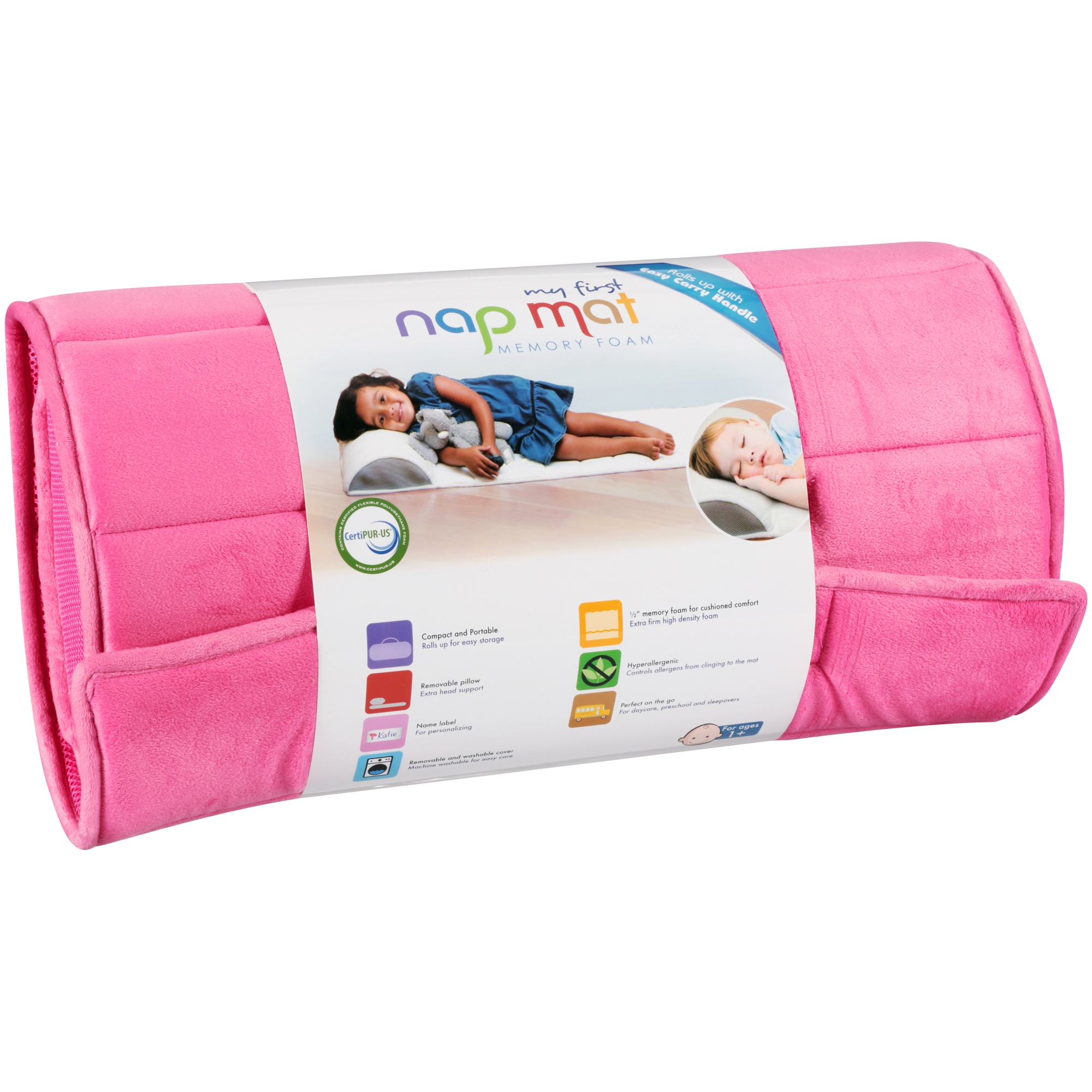 My First Nap Mat, Memory Foam Nap Mat Pad, Attached Removable Pillow, Pink