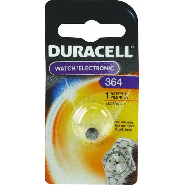 Duracell Watch And Electronic Battery 1.5 V Silver Oxide Model No. 364 Carded