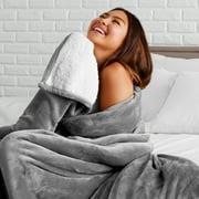 Bare Home Sherpa Blanket - Fluffy & Soft Plush Bed Blanket (Full/Queen, Gray)