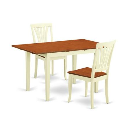 East West Furniture Norfolk 3 Piece Lath Back Dining Table Set ()