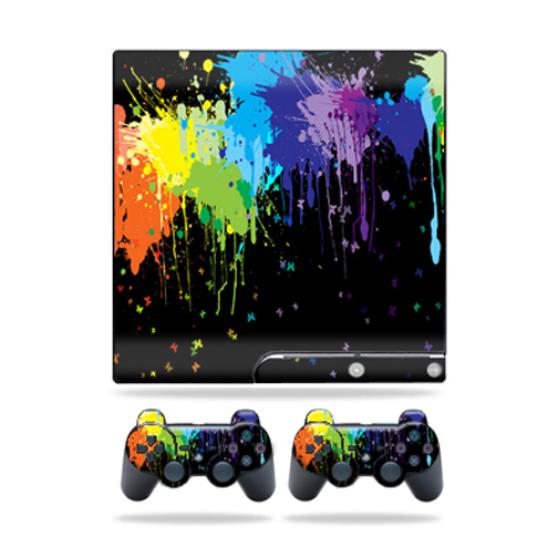 Skin Decal for Sony Playstation 3 PS3 Slim + 2 controllers sticker Splatter