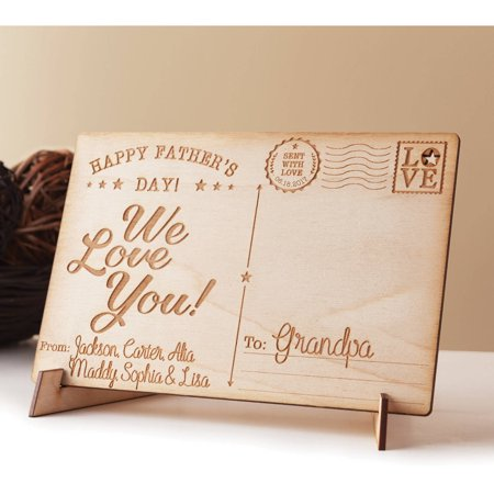 Happy Father's Day Personalized Wood Postcard, We