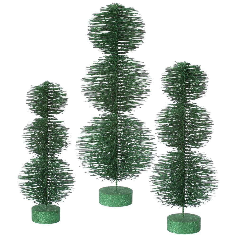 Set of 3 Emerald Glittery Artificial Triple Ball Topiary Christmas Trees ��� Unlit
