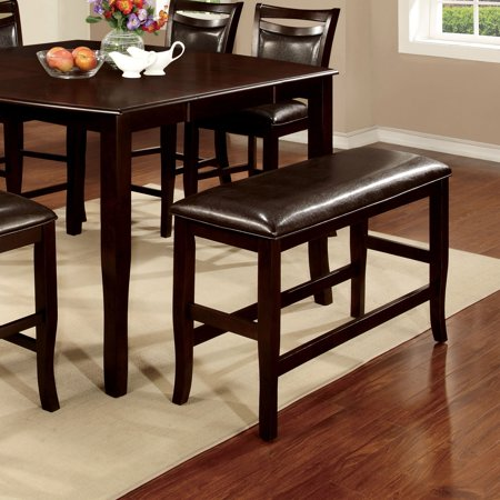 Furniture of America Clemmine Contemporary Espresso Counter Height Dining Bench Custom Wood Furniture