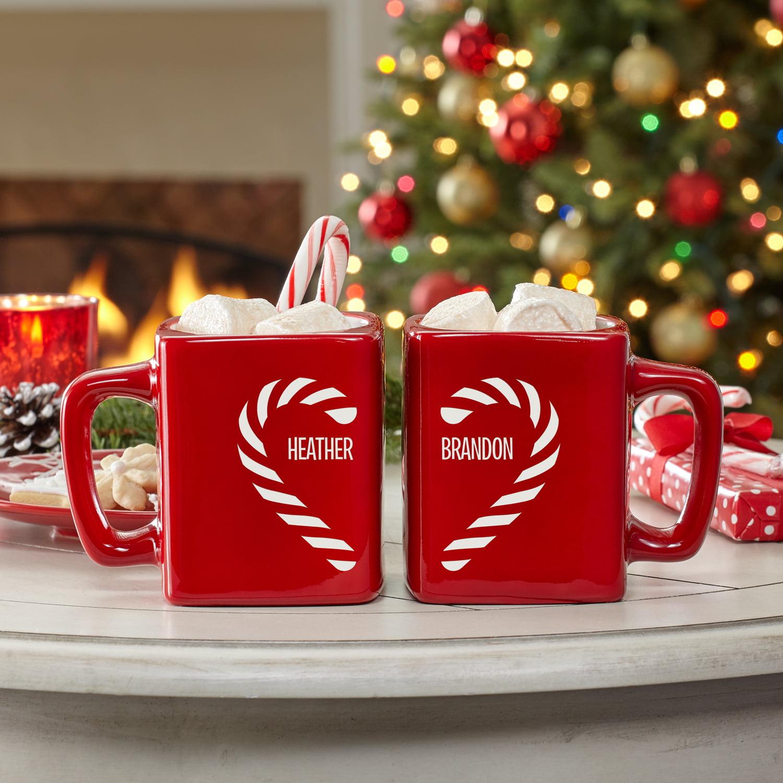 Personalized Candy Cane Couple Heart Mug Set