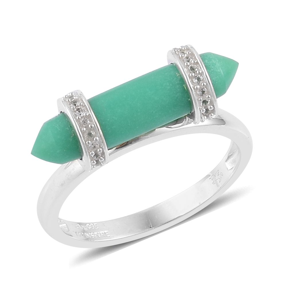 Chrysoprase White Topaz 935 Argentium Sterling Silver Ring by Shop LC
