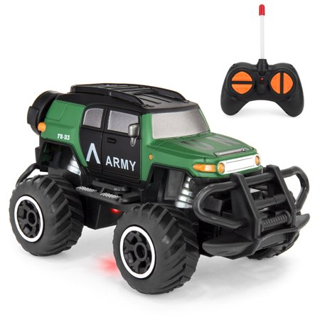 Best Choice Products Kids Mini Off-Road 4x4 RC Military Monster Truck High-Speed Dune Buggy Race Car Toy w/ Lights, Climbing Style Tires, Remote Control, Battery Powered