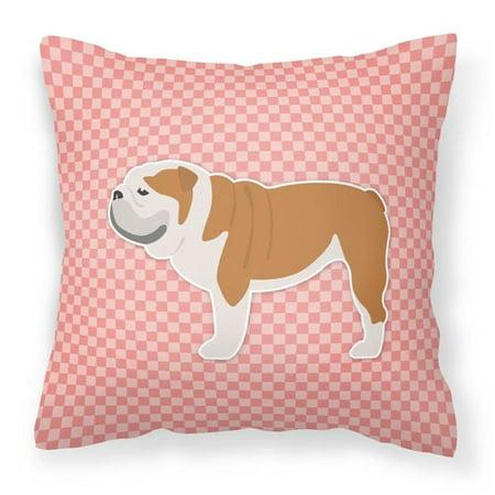 Carolines Treasures BB3662PW1414 English Bulldog Checkerboard Pink Fabric Decorative Pillow - image 1 of 1